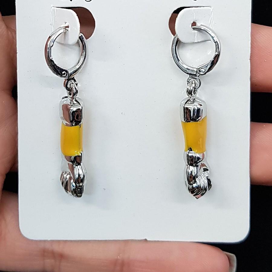Mini Argola Folheada Esmaltada Figa Prata Amarelo