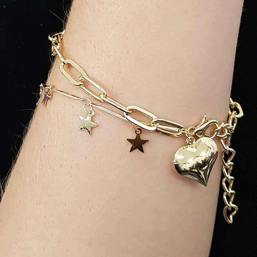 Pulseira Coração e Estrelas Dourada