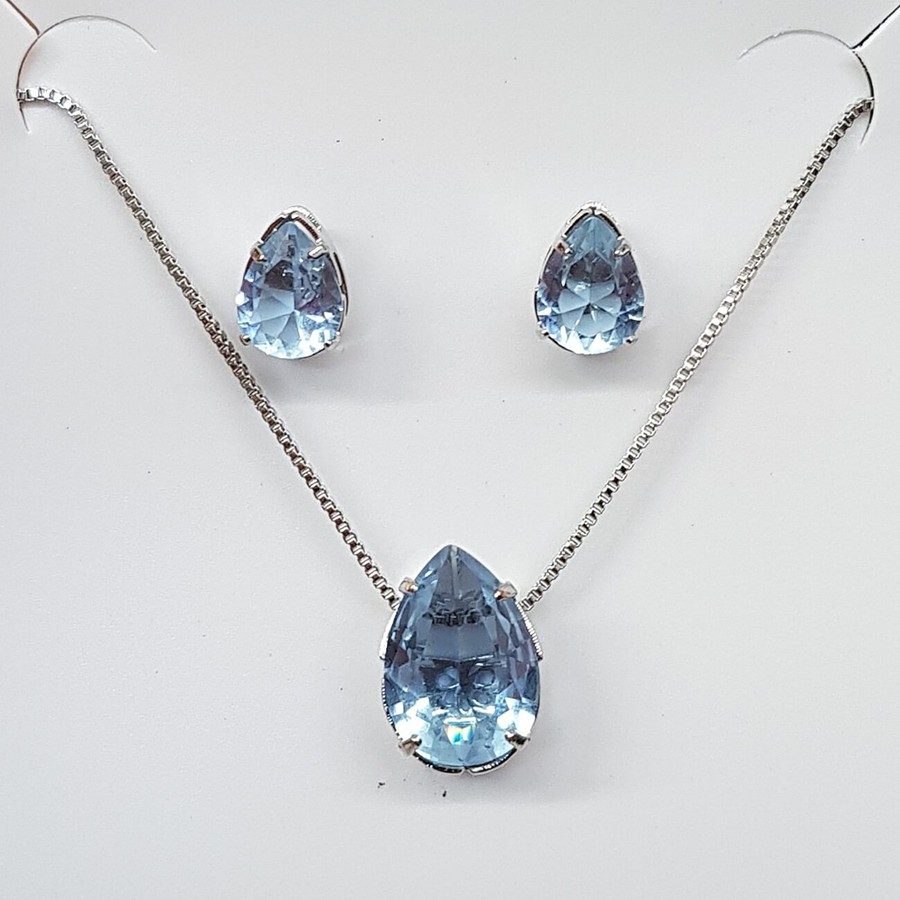 Conjunto Zircônia Gota Prata Azul