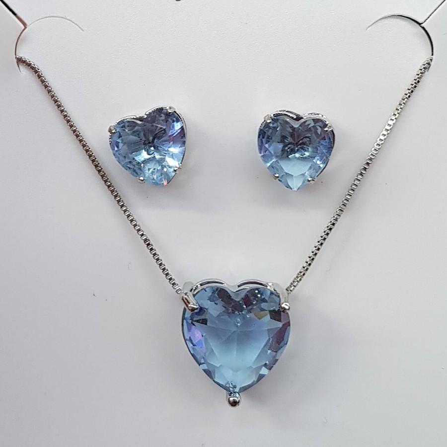 Conjunto Zircônia Coração Prata Azul