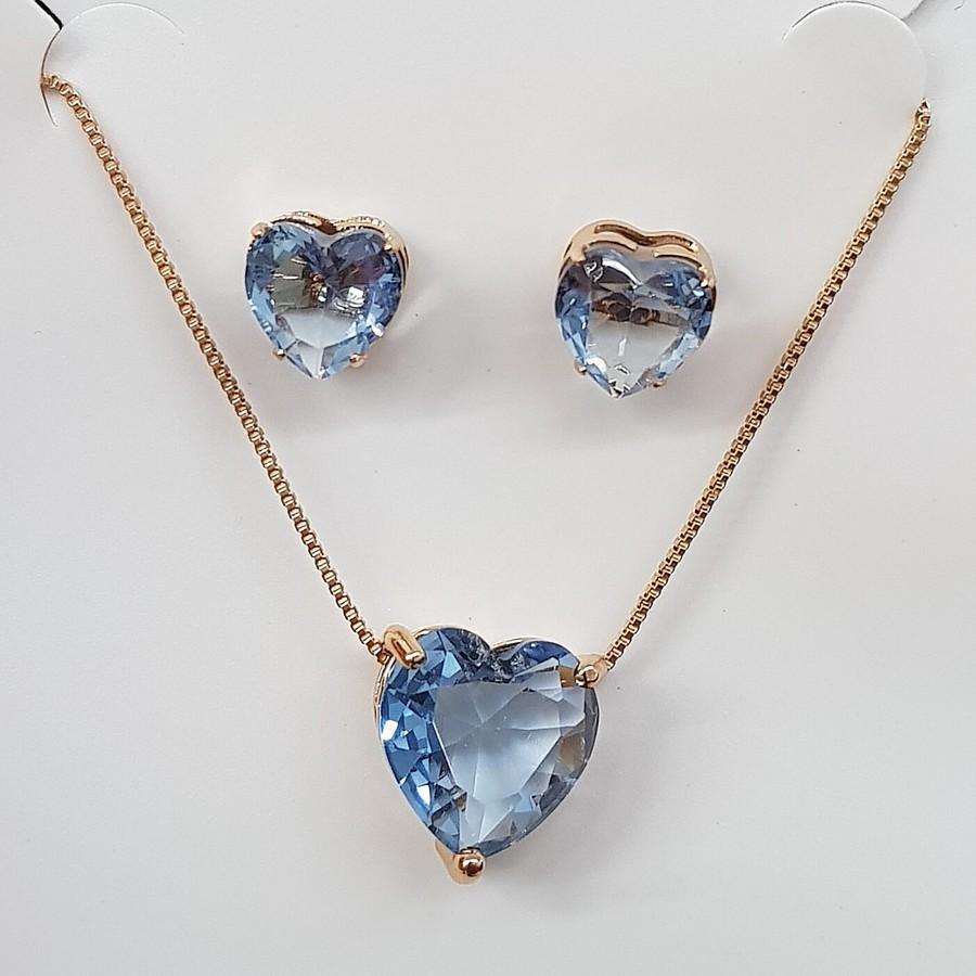 Conjunto Zircônia Coração Dourado Azul