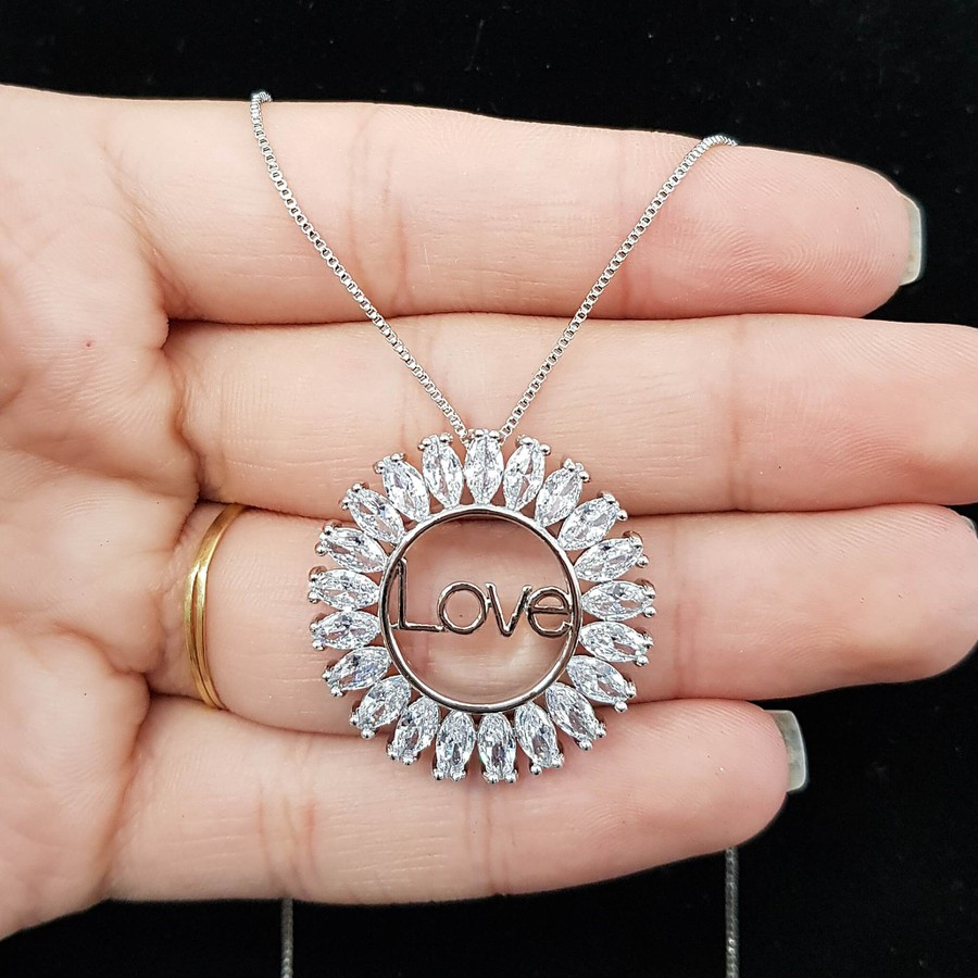 Colar Zircônia Love Prata