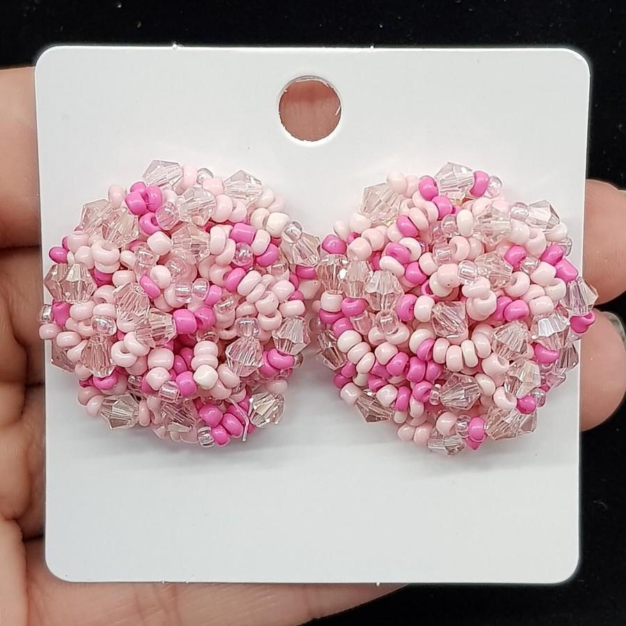 Brinco Miçangas Rosa