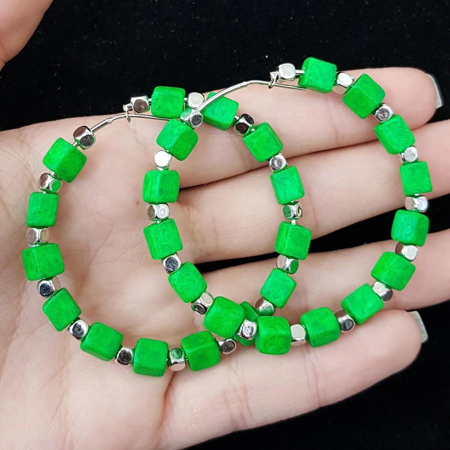 Argola Cubinhos Verde