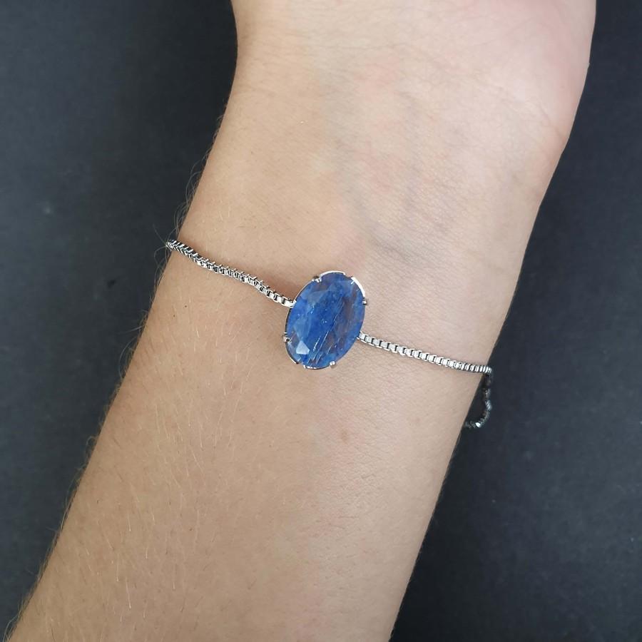 Pulseira Gravatinha Prata Azul