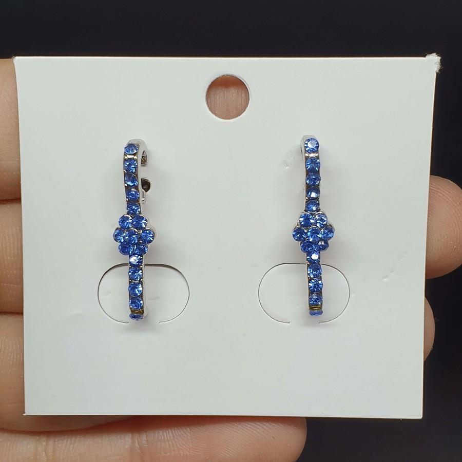 Brinco Ear Hook Flor Prata Azul Claro