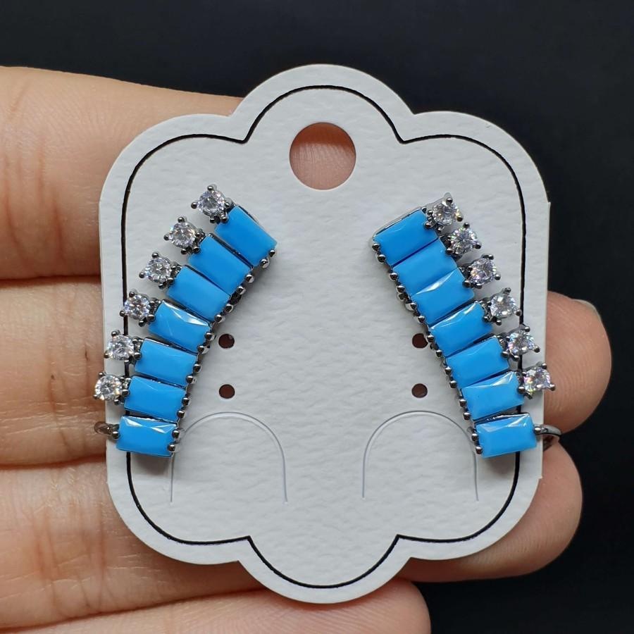 Brinco Ear Cuff Zircônia Grafite Azul Claro