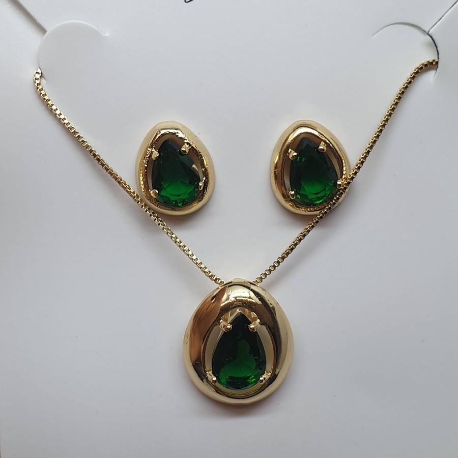 Conjunto Zircônia Gota Dourado Verde