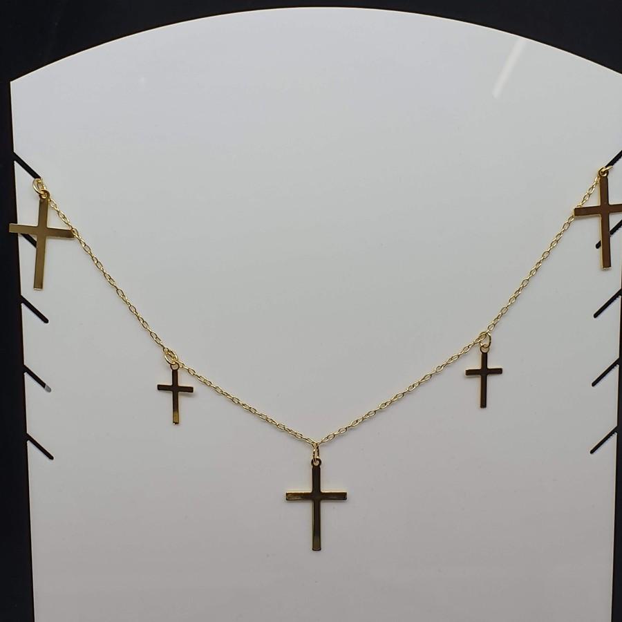 Colar Folheado Dourado Cruz