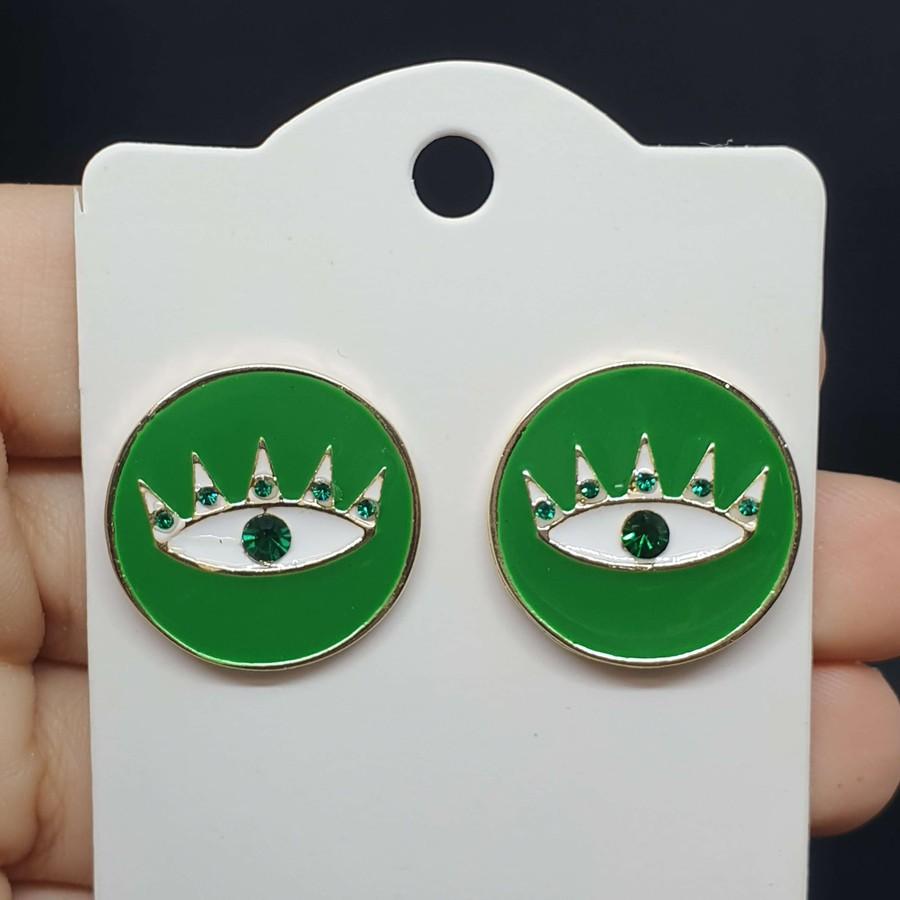 Brinco Folheado Esmaltado Dourado Olho Grego Verde