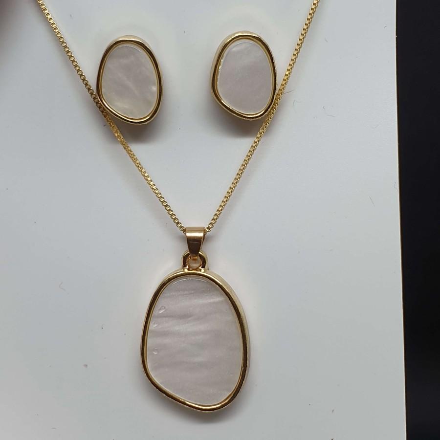 Conjunto Dourado Mesclado Branco