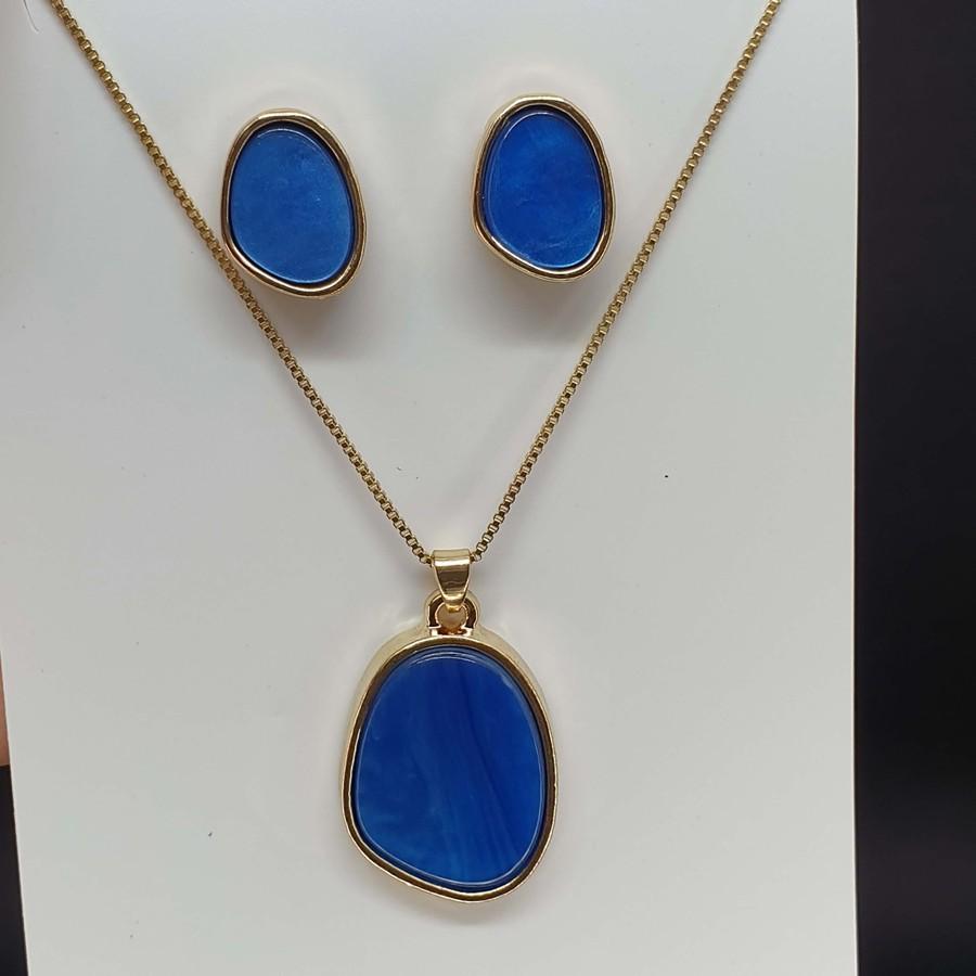Conjunto Dourado Mesclado Azul Escuro