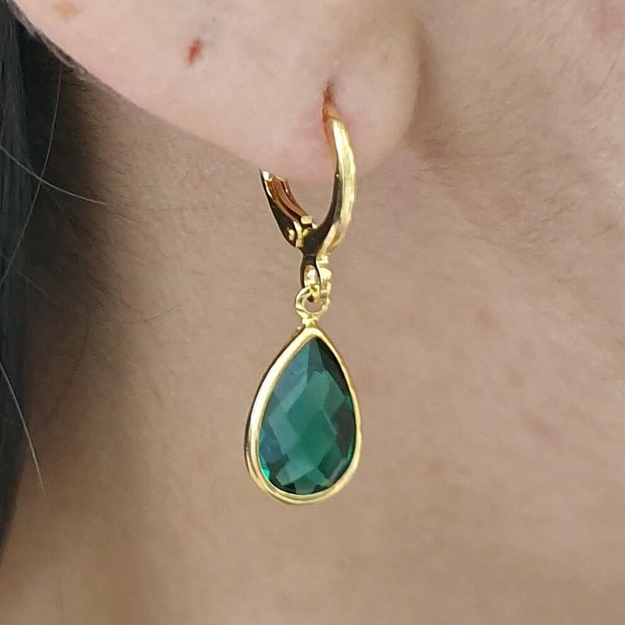 Mini Argola Folheada Dourado Gota Verde