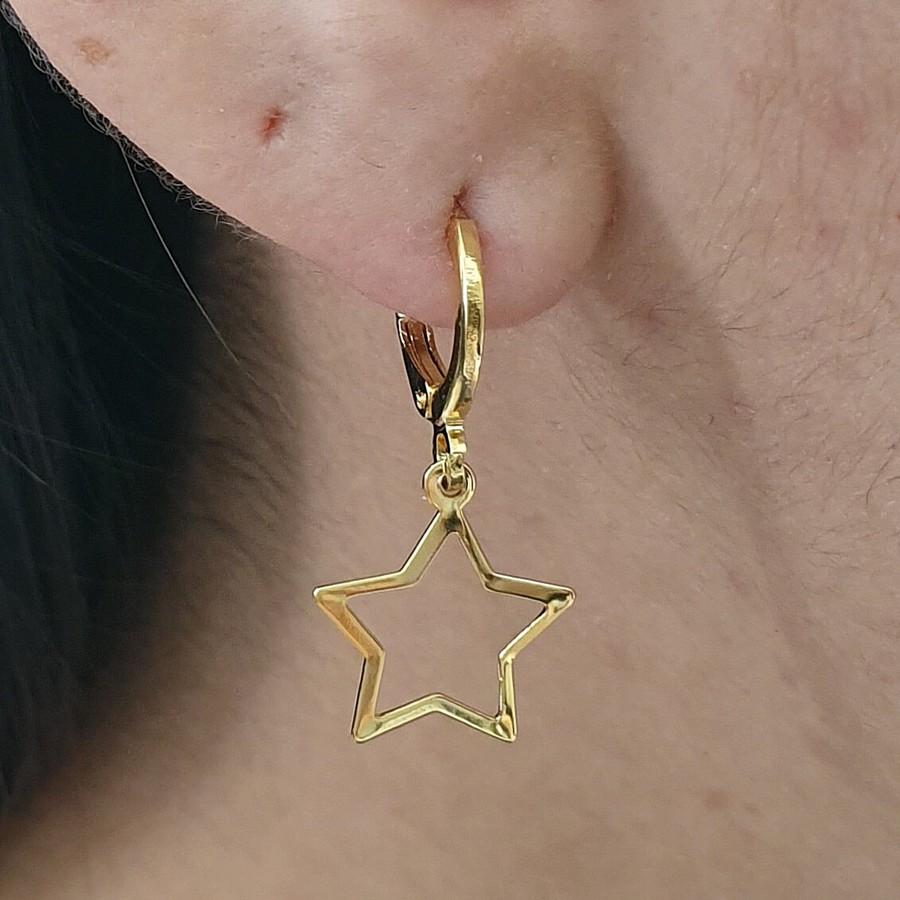 Mini Argola Folheada Dourado Estrela