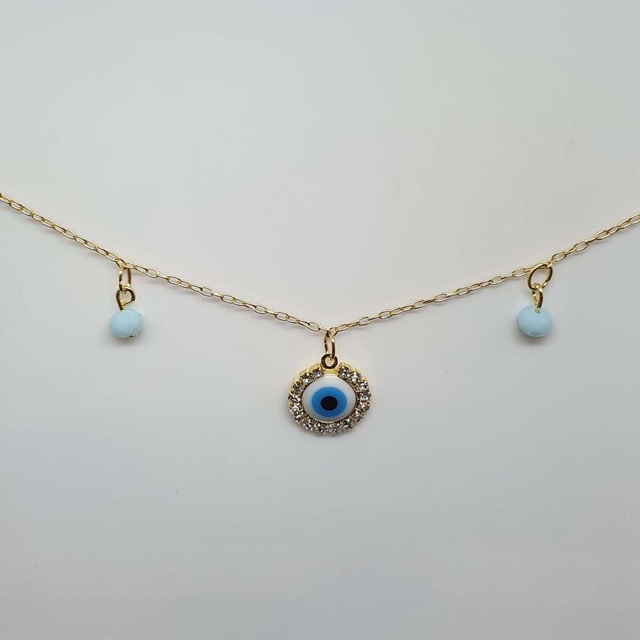 Colar Folheado Dourado Olho Grego Azul Claro