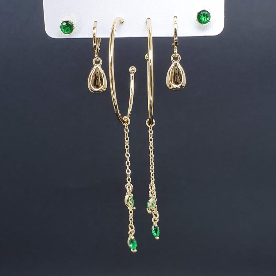 Kit De Brincos Dourado Verde