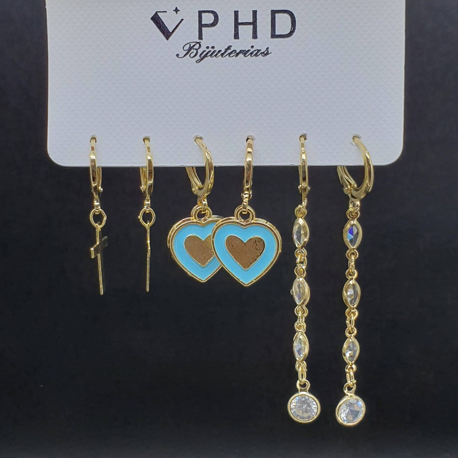 Kit De Mini Argolas Coração Dourado Azul