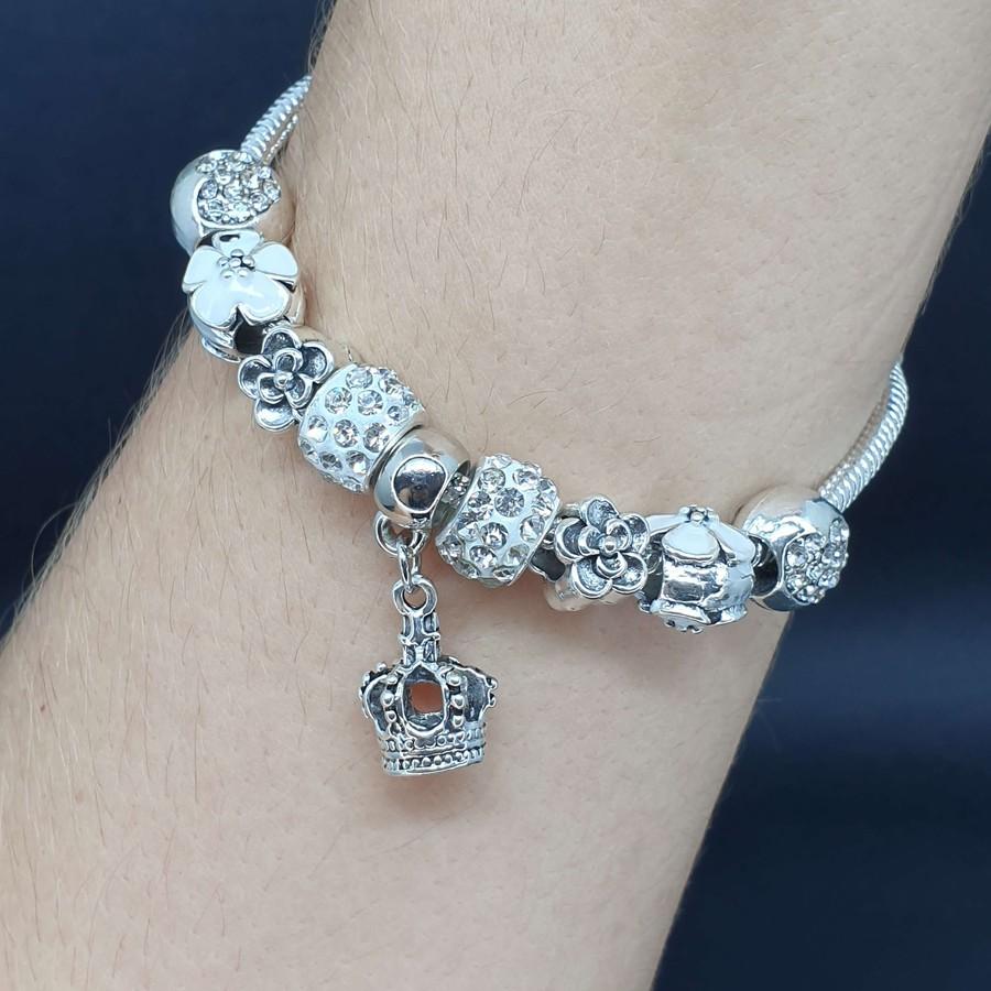 Pulseira Pandora Coroa Prata Branco