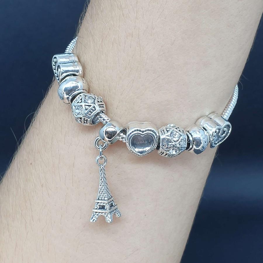 Pulseira Pandora Torre Eiffel Prata Branco