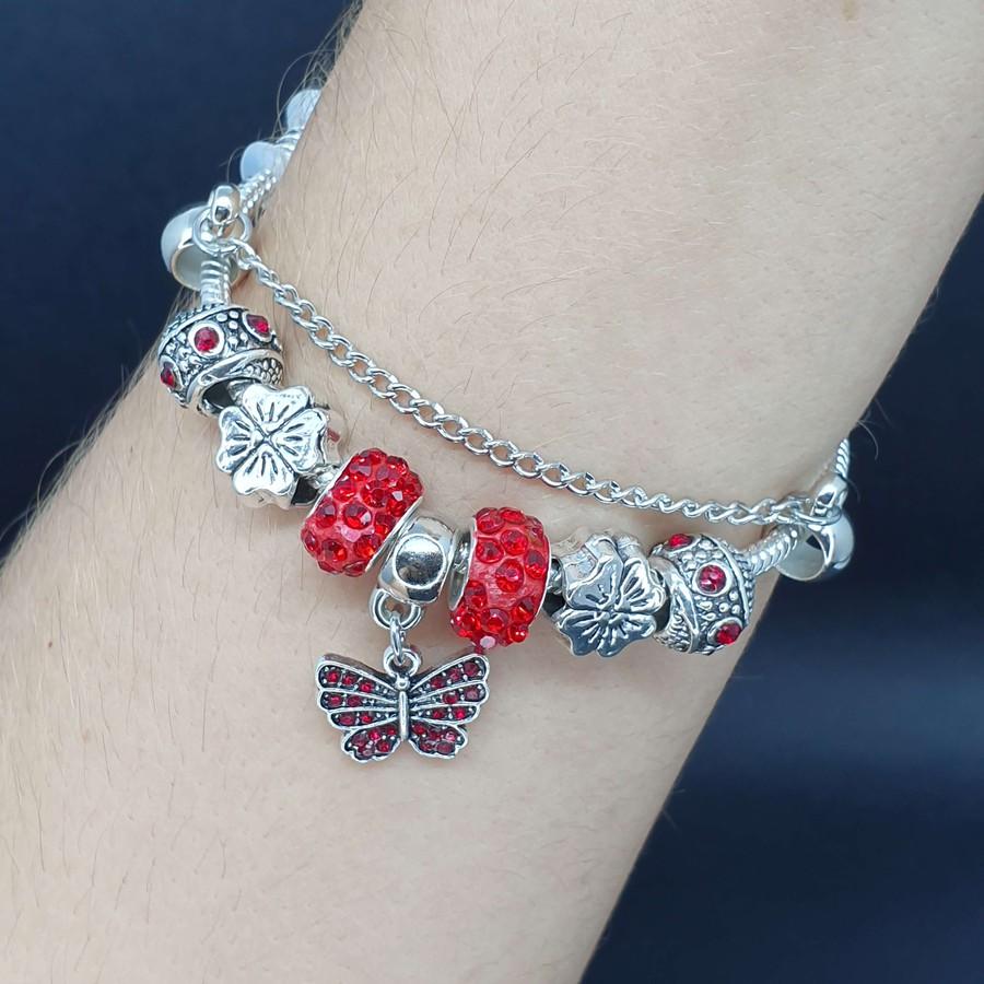 Pulseira Pandora Borboleta Prata Vermelho