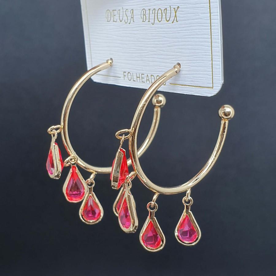 Argola Gota Dourado Rosa