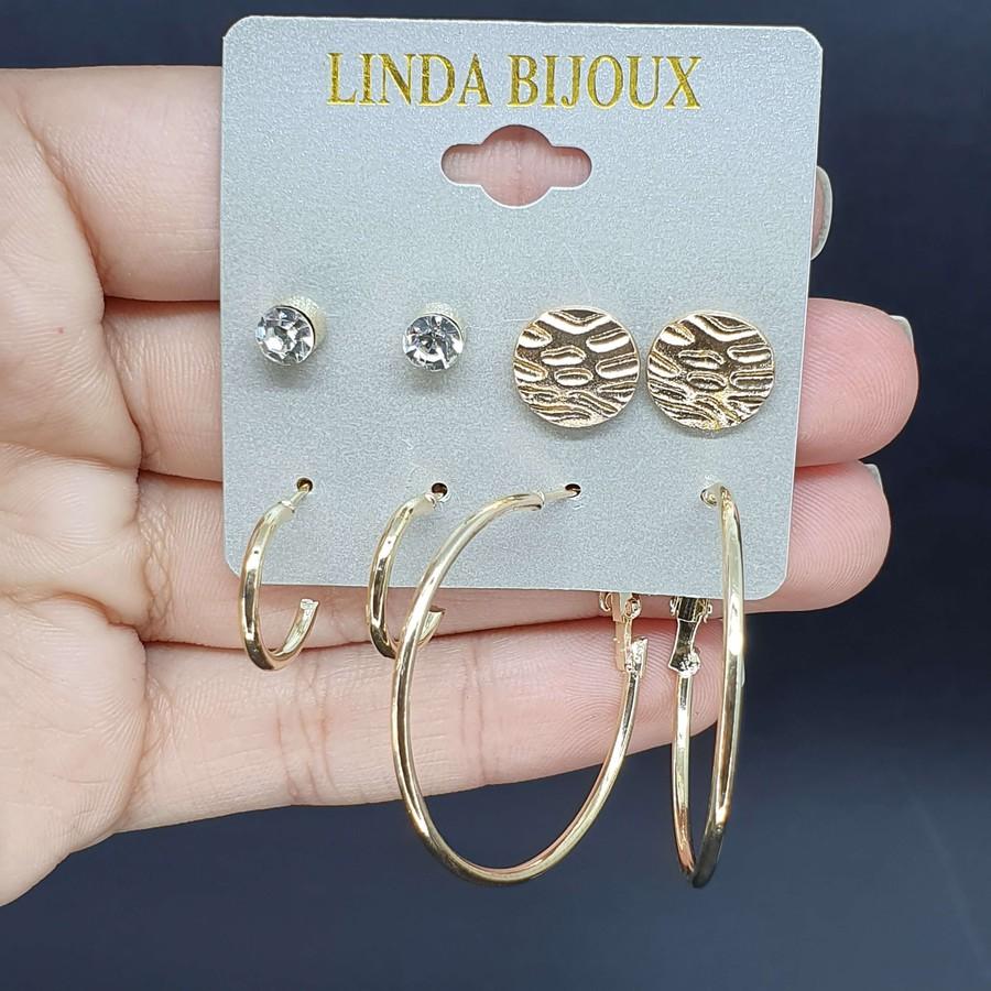 Kit De Brincos Olivia Dourada