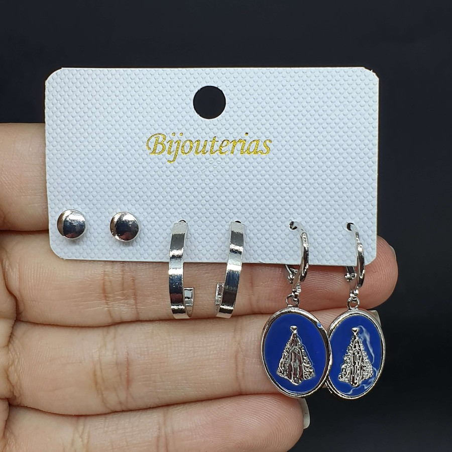 Kit De Brincos Nossa Senhora Aparecida Prata Azul