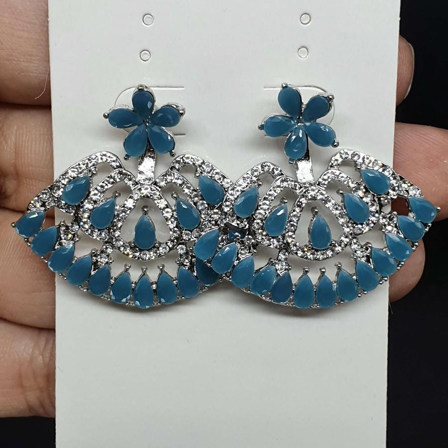 Brinco Rosana Prata Azul