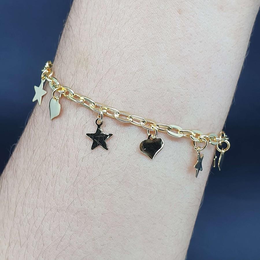 Pulseira Folheada Dourada Estrela e Coração