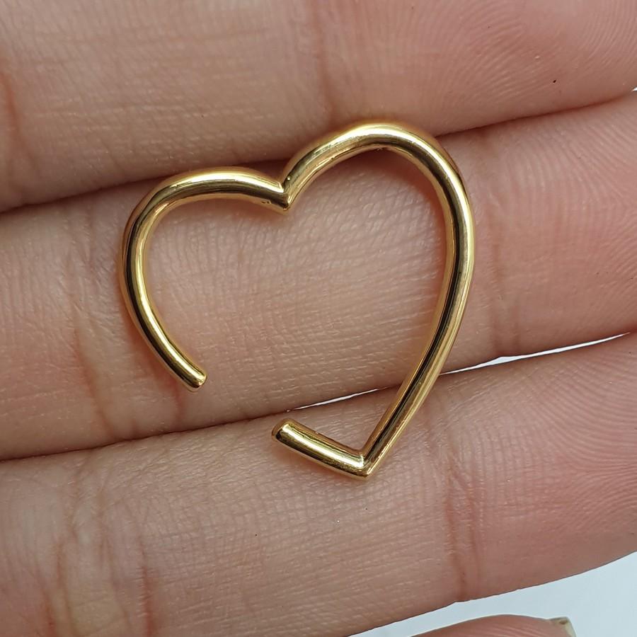 Piercing Fake Folheado Dourado Coração