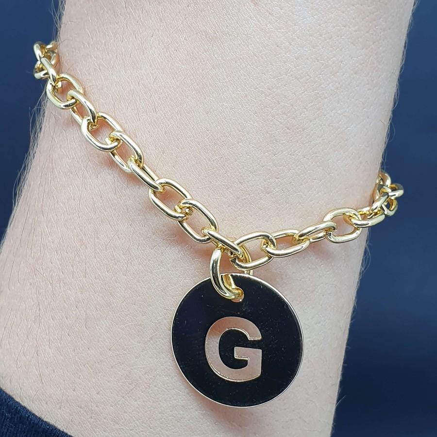 Pulseira Folheada Dourada Letra G
