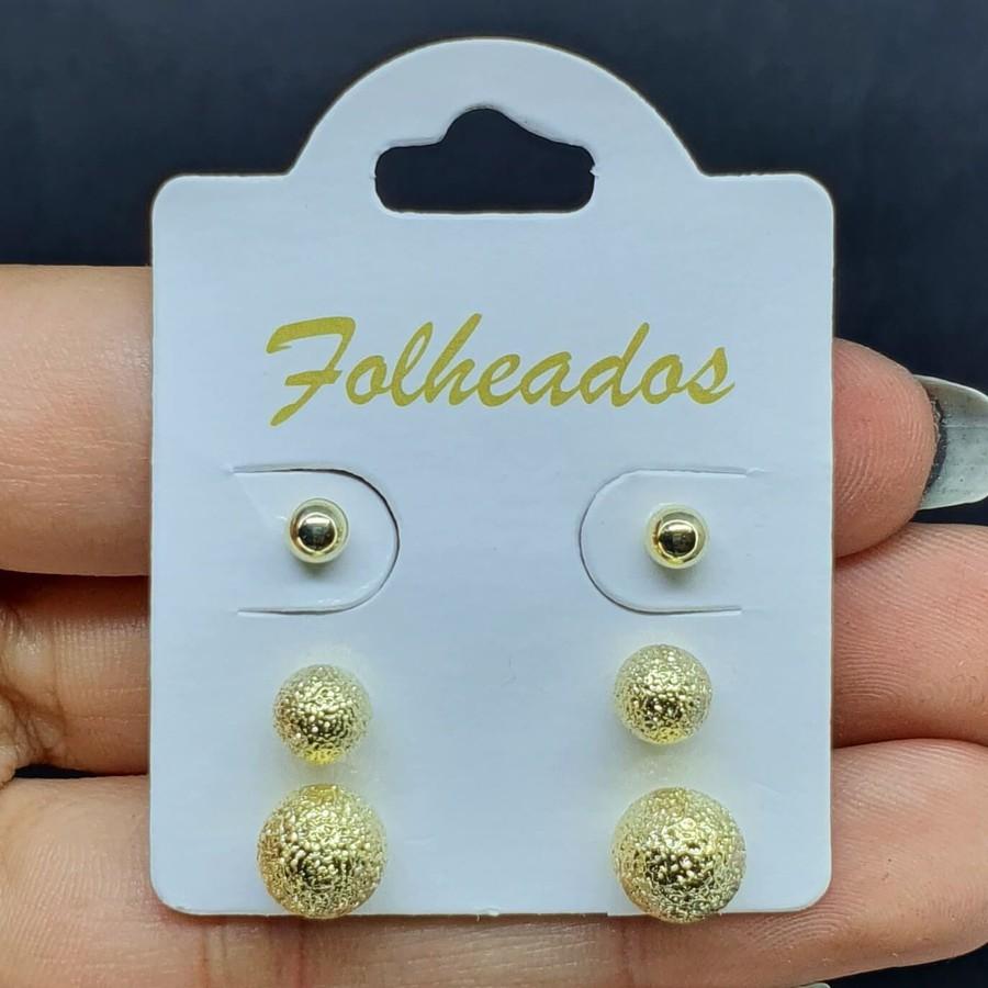 Kit De Brincos Folheados Dourado Esferas