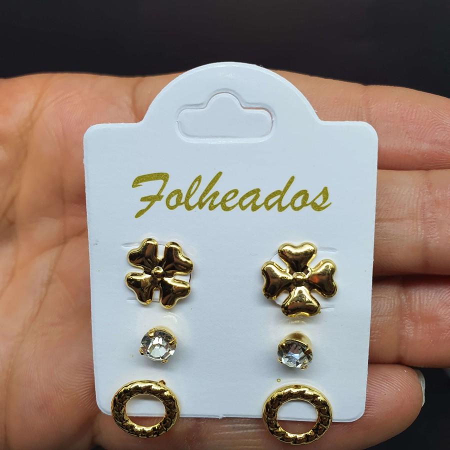 Kit De Brincos Folheados Dourado Aro