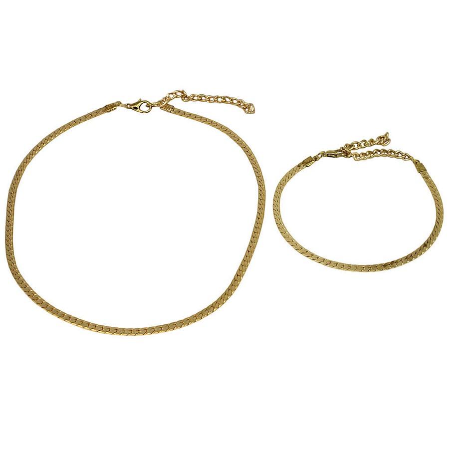Conjunto Colar Choker e Pulseira Metal Tabata Dourado