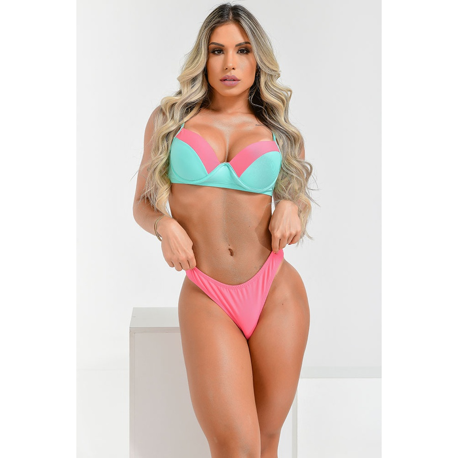 Biquíni Top Aro Base Larissa Chiclete Flamingo