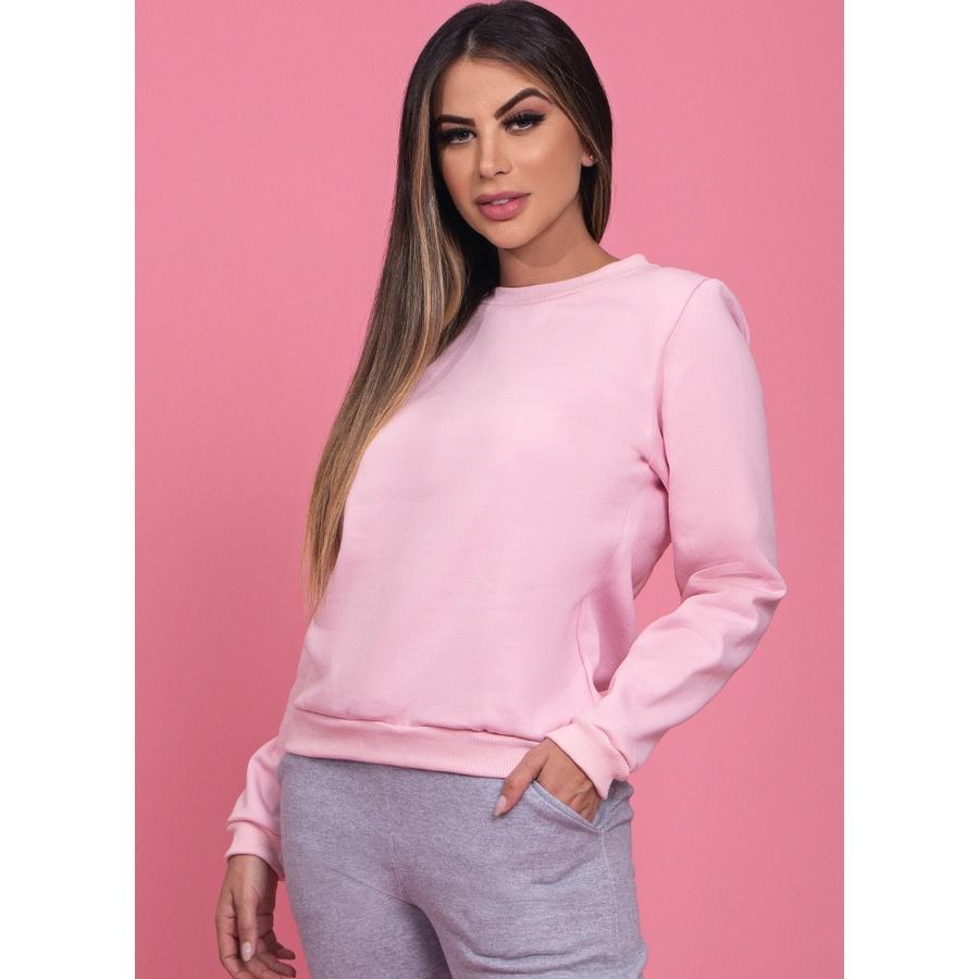 Blusa de Moletom Básico Rosa