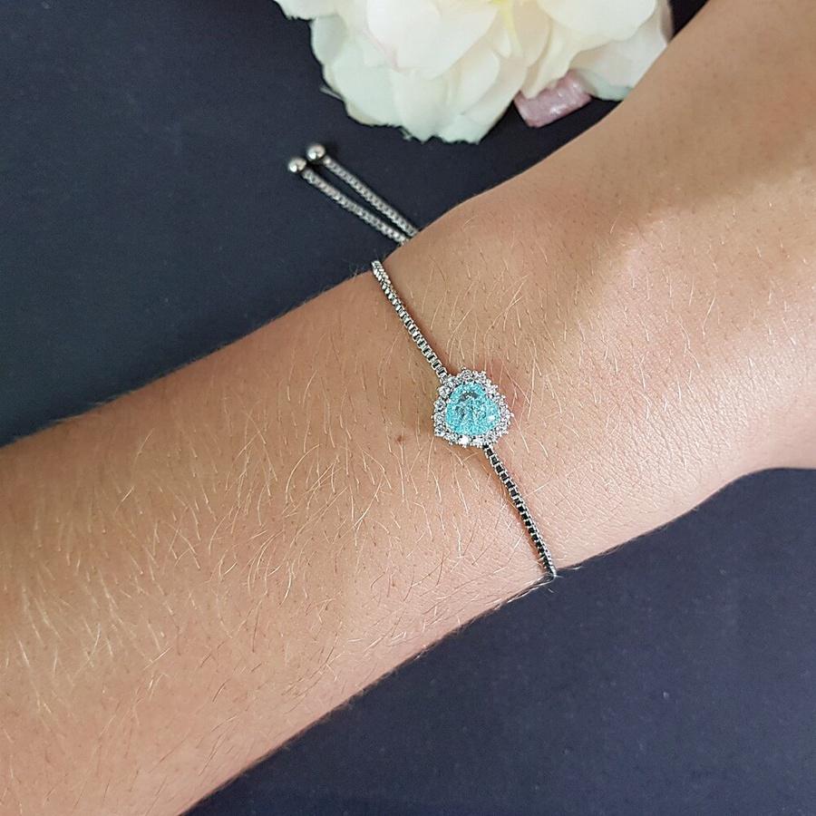 Pulseira Gravatinha Coração Pedra Fusion Prata Azul