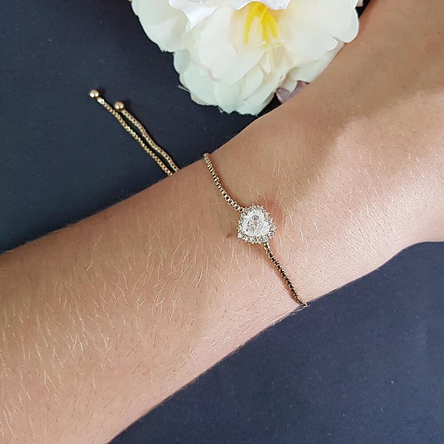 Pulseira Gravatinha Coração Pedra Fusion Dourado Branco