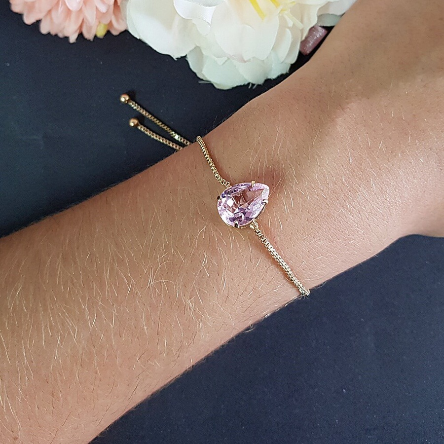 Pulseira Gravatinha Gota Pedra Fusion Dourado Rosa
