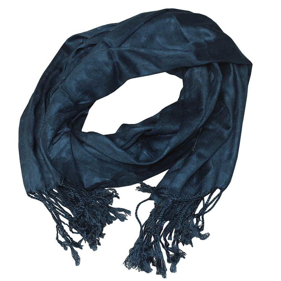 Lenço Echarpe Pashmina Florado Étnico Azul Escuro