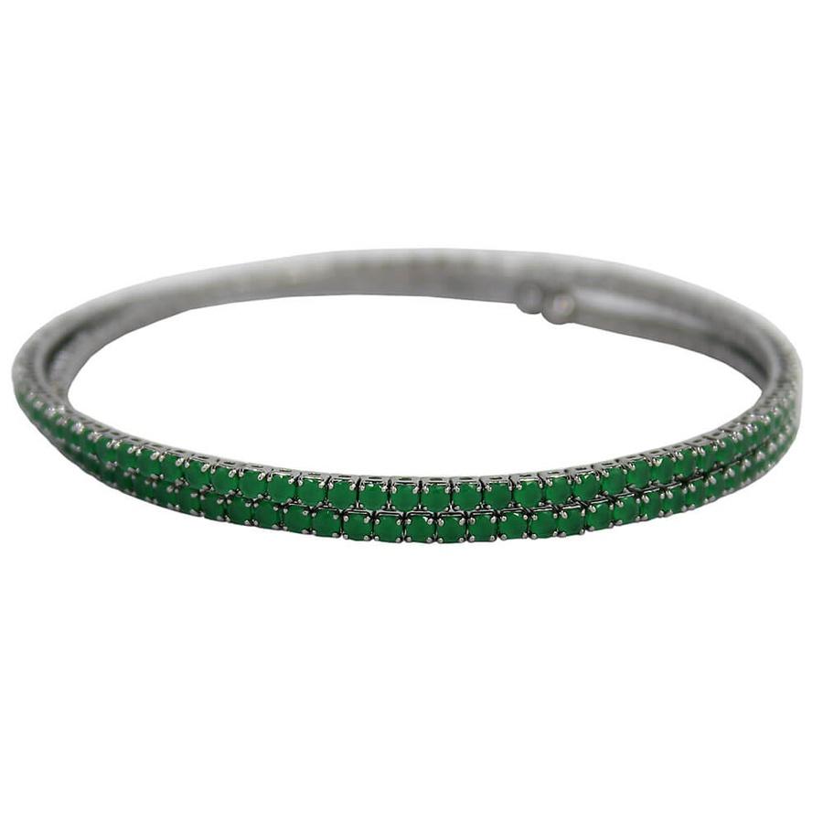 Pulseira Bracelete Zircônia Rubila Grafite Verde