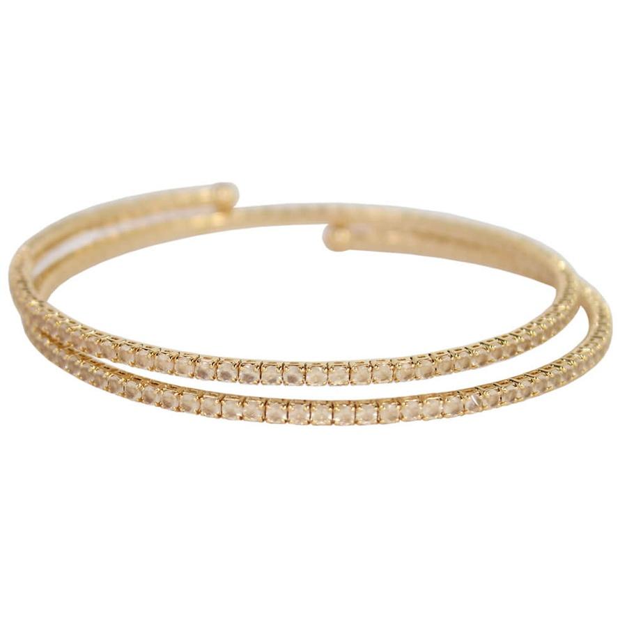 Pulseira Bracelete Zircônia Rubila Dourado Branco