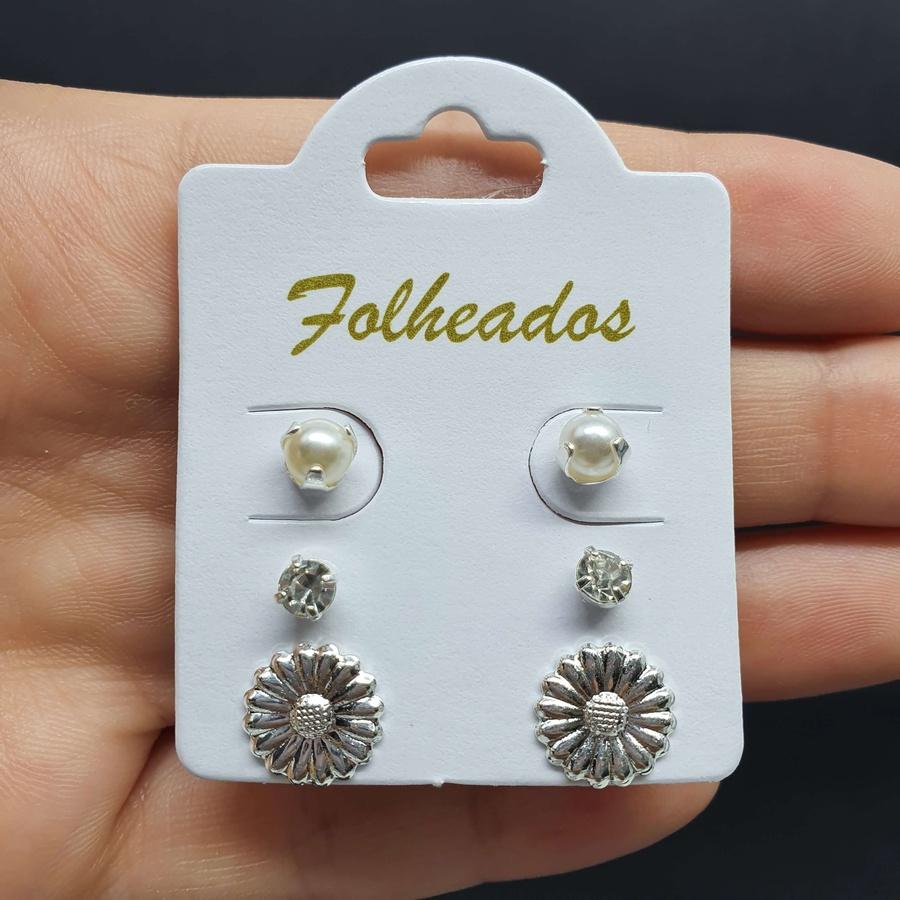 Kit De Brincos Folheados Prata Flor