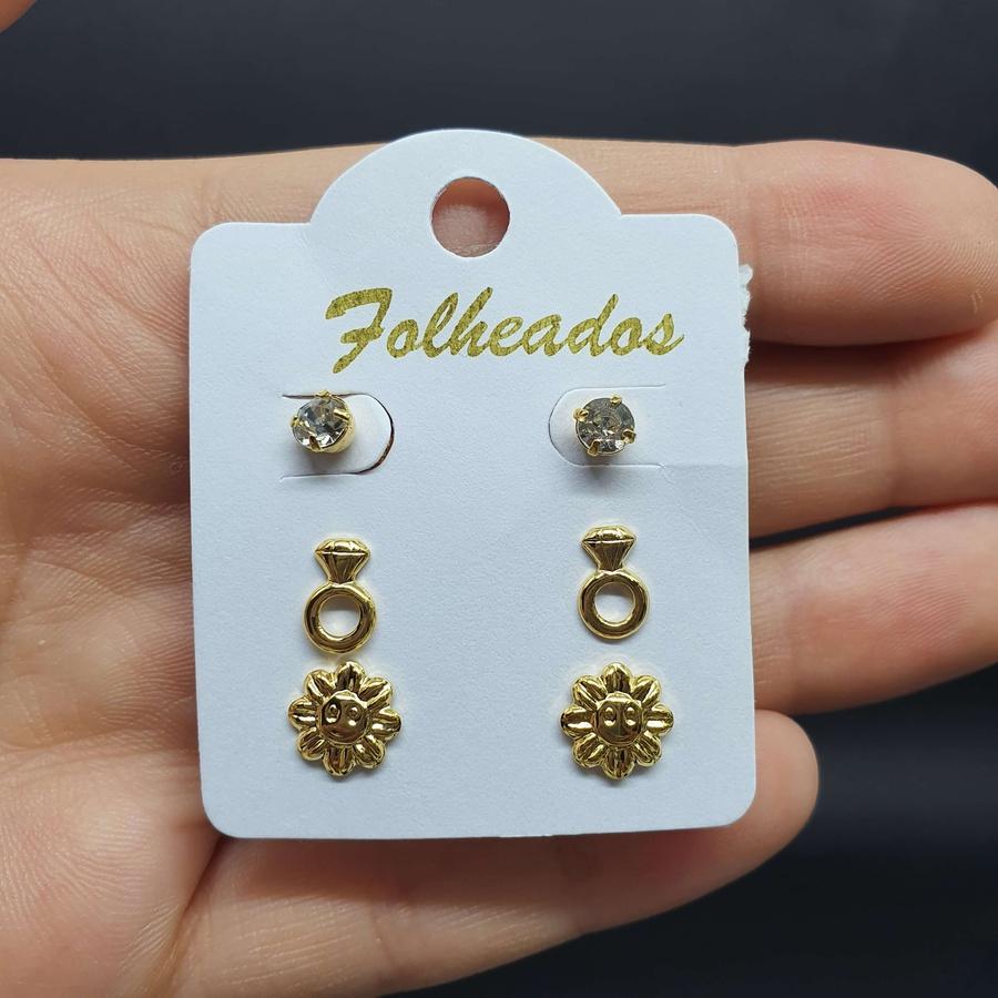 Kit De Brincos Folheados Dourado Flor Carinha