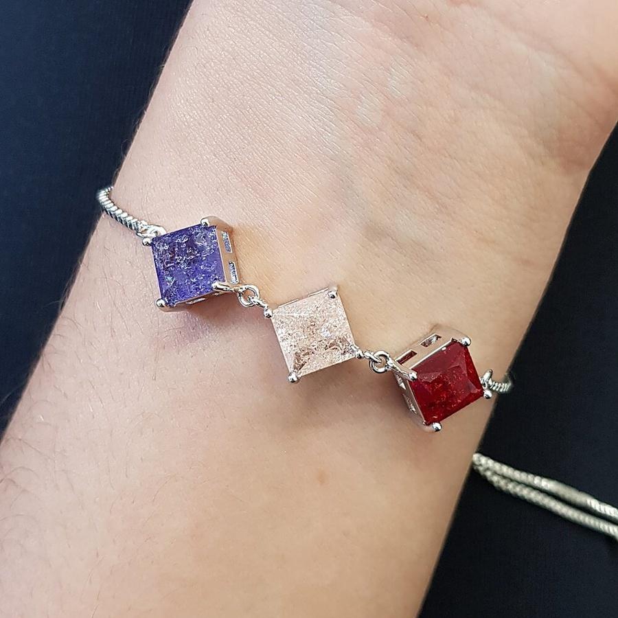 Pulseira Gravatinha Pedra Fusion Quadradinhos Prata Vermelho Rosê Lilás