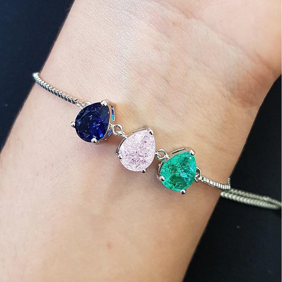Pulseira Gravatinha Pedra Fusion Gota Prata Verde Rosa Azul Marinho