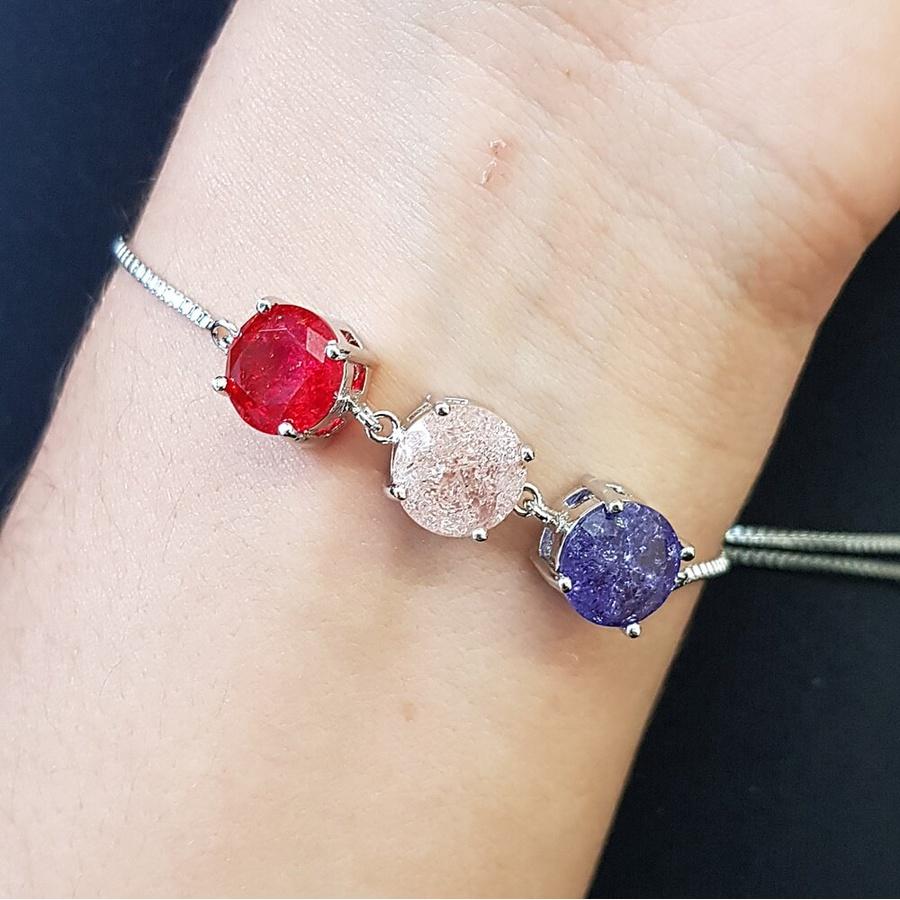 Pulseira Gravatinha Pedra Fusion Círculos Prata Vermelho Rosê Lilás