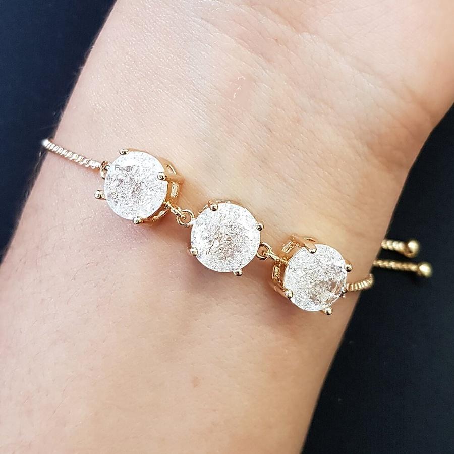 Pulseira Gravatinha Pedra Fusion Círculos Dourado Branco