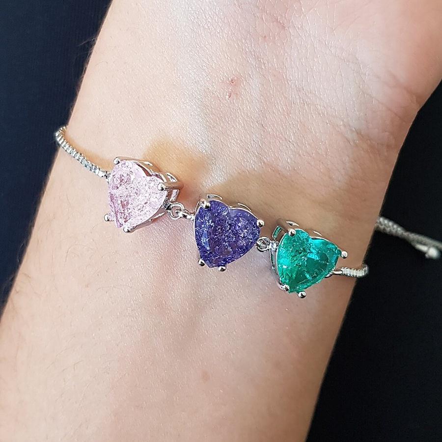 Pulseira Gravatinha Pedra Fusion Coração Prata Verde Lilás Rosa