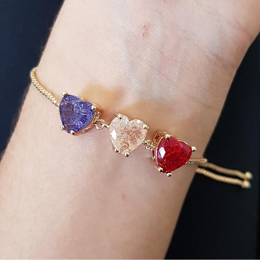 Pulseira Gravatinha Pedra Fusion Coração Dourado Lilás Rosê Vermelho